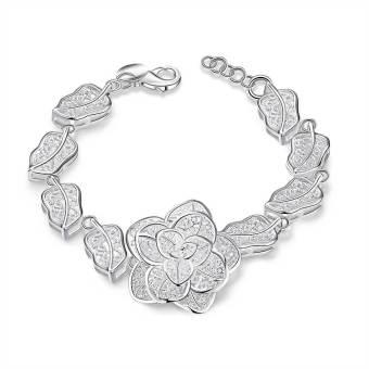 La Vie Sterling Silver Design Flower Bracelet (Silver)