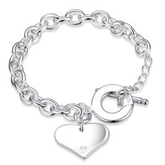 La Vie Sterling Silver Light Heart Card Chain Bracelet (Silver)