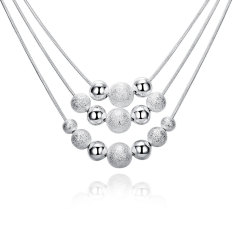 La Vie Sterling Silver Three Lines More Beads Ladies Necklace (Silver)