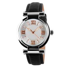 Ladies Fashion PU Leather Damen Quartz Watch Strap Watch Waterproof Watch Black (Intl)