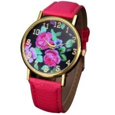 Ladies Quartz Leather Strap Watch Rose Flower Print Watches Women Fashion Floral Sports Pointer Dress Watches Rose Red (Intl)