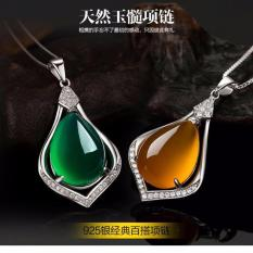 Ladies Sterling Silver Pendant Jade Necklace Pure Natural Jade Pendants Ms Necklace Jewelry 925 Sterling Silver Pendant (Contains Only Pendant, Does Not Contain The Necklace) - Intl