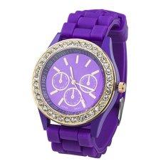 Ladies Women Girl Geneva Silicone Quartz Golden Crystal Stone Jelly Wrist Watch Purple
