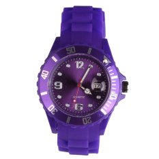 Lady neutral sports simple style silicone watch purple - intl