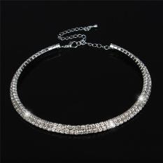 LALANG New Women Crystal Rhinestone Necklace Crew Neck Jewelry 2-rows Crystal