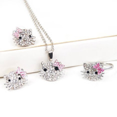 Landor Silver Kitty Rhinestone Crystal Fashion Jewelry Set With Pink Bow - Ring + Earrings + Necklace 3 In 1 Set