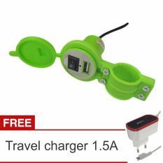 Lanjarjaya USB Charger Motor Waterproof Cas HP di motor + Travel Charger 1.5A(Hijau