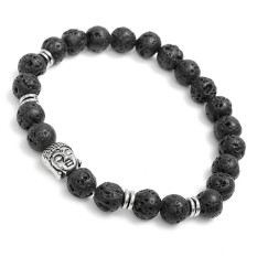 LAVA ROCK NATURAL STONE SILVER BUDDHA HEAD MEN'S BEADED BRACELET 8 MM BEADS GIFT Silver - Intl