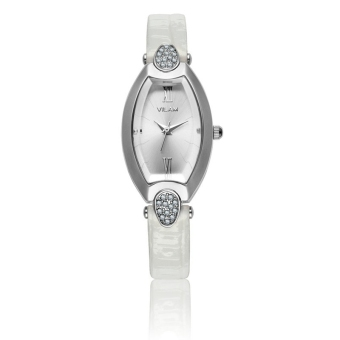 Leather Band Elegant Delicate Oval Diamond Simple High-quality Female Party Watch (White)