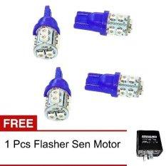 LED 10 Mata Colok Untuk Lampu Motor 4 Pcs - Biru + Gratis Flasher Sen LED