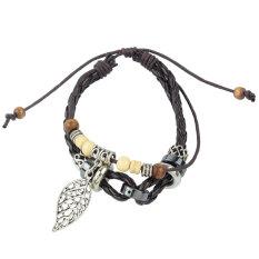 Leegoal Leaf Pendant Beads PU Leather Bracelet Adjustable Wirstband, Brown
