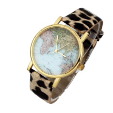 Leopard Women Female World Map Leather Band Analog Quartz Dress Watch (Intl)