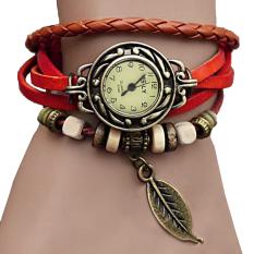 Linemart Synthetic Leather Quartz Bracelet Women Wrist Watch Red (Intl)