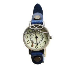 Long-haired Girl Retro Leather Embossed Leather Watch Ladies Bracelet Watch Watch (Intl)