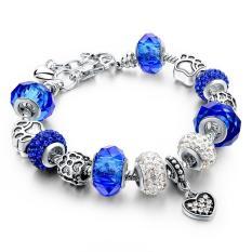 LongWay European Style Authentic Tibetan Silver Blue Crystal Charm Bracelets For Women Original DIY Beads Jewelry - Intl