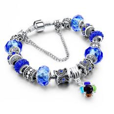 LongWay European Style Authentic Tibetan Silver Blue Crystal Charm Bracelets For Women Original DIY Beads Jewelry - Intl
