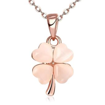 Lovely Sweet Four Leaves Pink Opal Rose Gold Plated Pendant Link Chain Necklace For Lady Romantic Gift For Girl