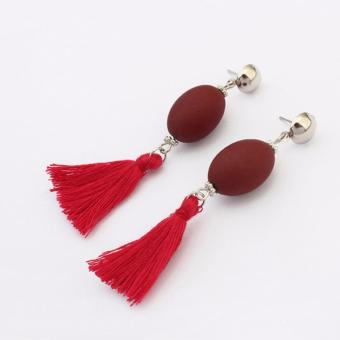 LRC Anting Retro Red Tassel Decorated Simple Long Chain Earrings