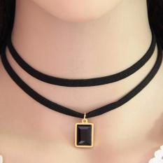 LRC Kalung Wanita Temperament Square Gemstone Pendant Decorated Double Layer Necklace