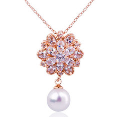 Luxury 18K Gold Plated Zircon Pearl Pendant Necklace Women's Fashion Jewelry LB476 Gold