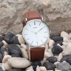 Luxury Brand Geneva Women Dress Watches Leather Band Analog Quartz Wrist Watch (Brown) - Intl