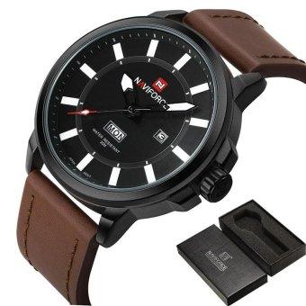 56da3193c Luxury Brand NAVIFORCE Men Sports Waterproof Watches Men's Quartz Date  Clock Army Military Leather Wrist Watch