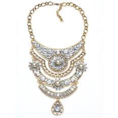 Luxury Crystal Diamond Statement Necklaces Women Fashion Choker Charm Necklaces with Golden Gemstone Pendants (Intl)