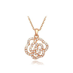 Luxury Elegant Flower Rose Gold Plated Pendant Lady Girls Party Anniversary Jewelry Chain Necklace (Rose Gold Color)