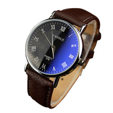 Luxury Fashion Faux Leather Mens Quartz Analog Watch Watches Brown (Intl)