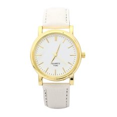 Luxury Fashion Womens Diamond Leather Band Analog Quartz Wrist Watch White