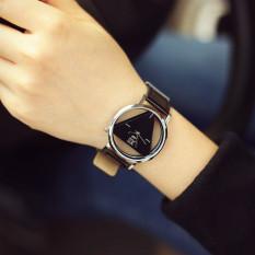 Luxury Hollow Geneva Women Casual Fashion Leather Band Unisex Watch Skeleton Quartz Wristwatch (Black) - Intl