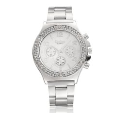 Luxury Ladies Man's Stainless Steel Band Rhinestone Crystal Round Dial Quartz Wrist Watch - Silver