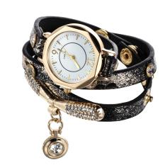 Luxury Leather Bracelet Wristwatch Women Dress Brand Quartz Watch Black (Intl)