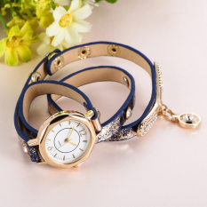 Luxury Leather Bracelet Wristwatch Women Dress Brand Quartz Watch Blue (Intl)