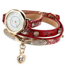 Luxury Leather Bracelet Wristwatch Women Dress Brand Quartz Watch Red