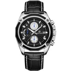 LUXURY MEGIR Brand Mens Wristwatch Chronograph 24 Hours Date Clock Luminous Analog Leather Strap Quartz Watch Relogio Masculino