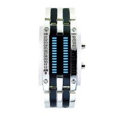 Luxury Men's Waterproof Stainless Steel Date Digital LED Bracelet Sport Watches (Silver) (Intl)