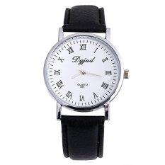 Luxury Neutral Faux Leather Sport Watch Analog Quartz Wrist Watch Black