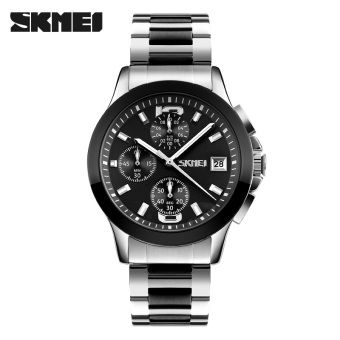 Luxury New Brand SKMEI Full Stainless Steel Watch Men Business Casual Quartz Watch Sport Waterproof Men Wristwatches (Black)