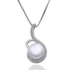 Luxury Pearl 6 Shape Ornate Inlay Platinum Plated Pendant