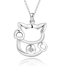 MAK 18 Inches 925 Sterling Silver Pendants Necklace Fashion Jewellery Charm Cat with Crystal Coin Neck Link Chain For Bridesmaid Gifts