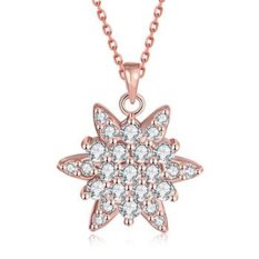 MAK 18K Gold Plated Pendants Necklaces Classic Star Flower Crystal Pink Link Chain Fashion Jewelry For Girl Gifts