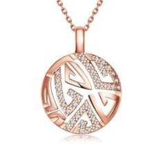 MAK 18K Gold Plated Pendants Necklaces Trendy Unusual Crystal Circle Rose Gold Chain Fashion Accessories For Best Friendship Girlfriend