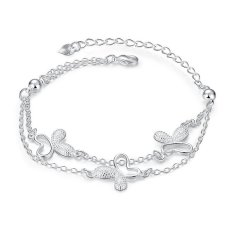 MAK 925 Sterling Silver Bracelet Fashion Butterfly With Bead Bangle Fine Jewelry For Women Birthday Gifts (Intl)