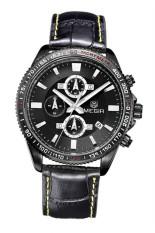 "'""MEGIR 3001B Men""s Sport Leather Strap Quartz Waterproof Watch (Black) (Intl) ""'"