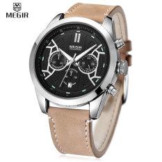 MEGIR 3016 Male Quartz Watch Chronograph 24 Hours Display Luminous Wristwatch (Silver)