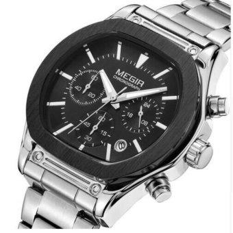 MEGIR Auto Date Mens Watches Military Army Sports Casual Waterproof Men Watch Quartz Stainless Steel Leather Man Wristwatch 3014 - intl