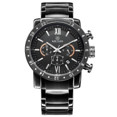 Megir Brand Fashion Sports Watch Men Stainless Steel Quartz Watch (Black) (Intl)