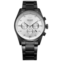 Megir Brand Men Sports Watches Full Steel Military Wrist Watch (White) (Intl)