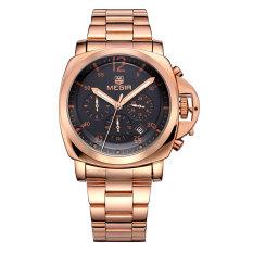 Megir CHRONOGRAPH 24 Hours Function Sport Watch Business Watches Dress Wristwatch Fashion Casual Men's Watch Relogio (Silver&Gold) (Intl)